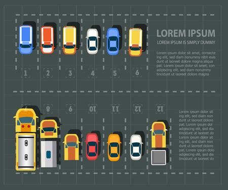 punto de vista de arriba de los vehículos. Conjunto de coches
