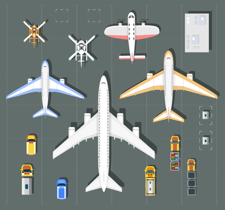 trasporti: punto Overhead di vista aeroporto con tutti gli edifici, aerei, veicoli e pista dell'aeroporto Vettoriali
