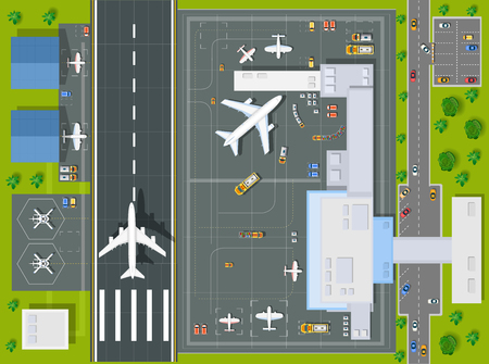 Overhead   point of view airport with all the buildings, planes, vehicles and airport runway