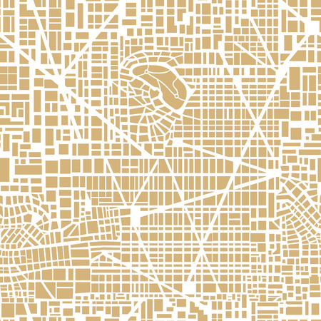 Seamless map of the city. Seamless city pattern.  Editable vector street map of a fictional generic town. Abstract urban background. Stock Illustratie