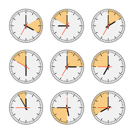 intervals: Watch the arrow dial and second hand at time intervals in minutes