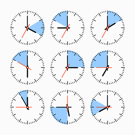 clockworks: Set hours with the timer in different colors in the style of icons infographics
