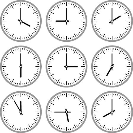 Un conjunto de mecanismos de relojería y relojes en diferentes versiones Ilustración de vector