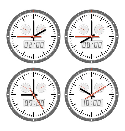 arrow circles: A set of clock  movements and watches in different versions