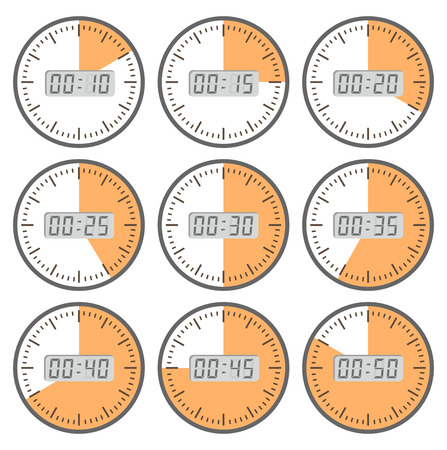 Set clock  with the timer in different colors in the style of icons infographics Ilustrace