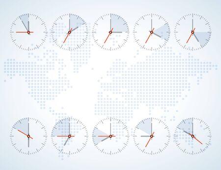 orologio da parete: Immagine di un orologio da parete su una mappa di sfondo del mondo con i continenti toni accesi Vettoriali