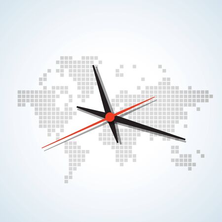 continents: Image of a wall clock on a background map of the world with continents bright tones Illustration