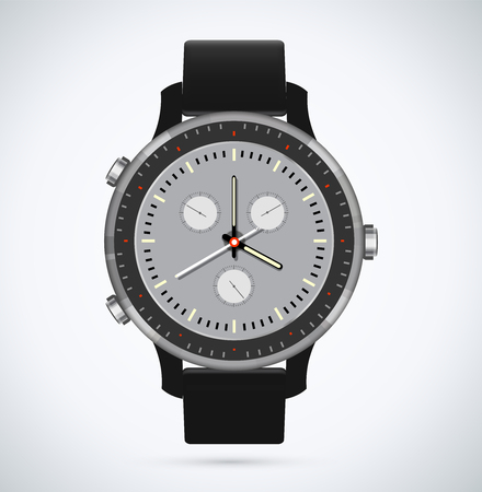 The design of modern and fashionable watch with a black dial and arrows