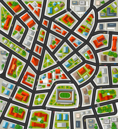 Plan for the big city with streets, roofs, cars. City in plan view.