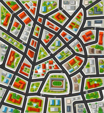 Plannen te maken voor de grote stad met straten, daken, auto's. Stad in bovenaanzicht.