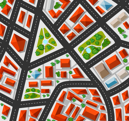 view from above: Plan for the big city with streets, roofs, cars. City in plan view.