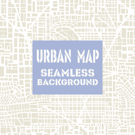 Seamless map of the city. Seamless city pattern.  Editable vector street map of a fictional generic town. Abstract urban background. Vettoriali