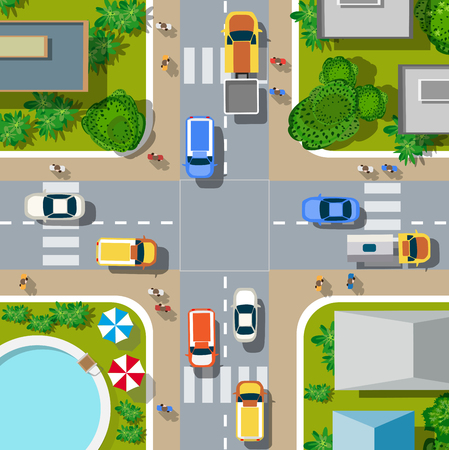 Top view of the city. Urban crossroads with cars and houses, pedestrians. Vectores