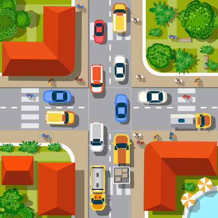 view from above: Top view of the city. Urban crossroads with cars and houses, pedestrians. Illustration