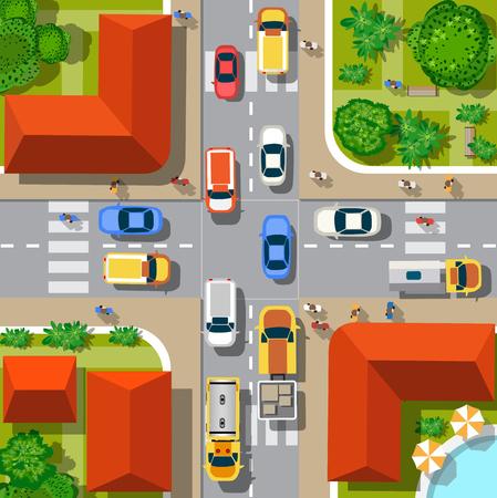 Vista superior de la ciudad. cruce de caminos urbanos con coches y casas, peatones.