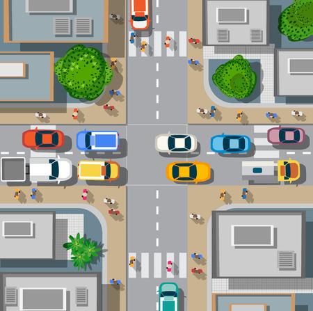 Bovenaanzicht van de stad. Urban kruispunten met auto's en huizen, voetgangers.