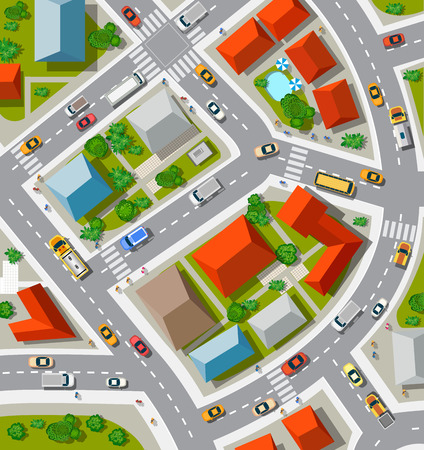 view: Top view of the  Urban crossroads with cars and houses