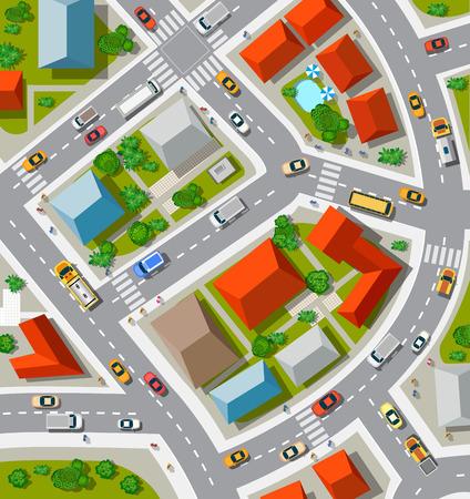 arbre vue dessus: Vue de dessus du carrefour urbain avec des voitures et des maisons