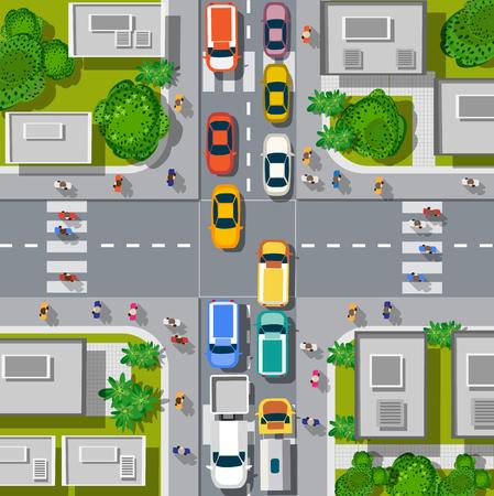 Vista superior de los cruces urbanos con coches y casas