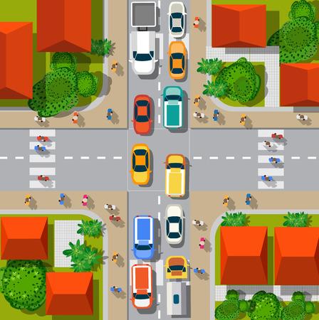 Draufsicht der städtischen Kreuzung mit Autos und Häuser