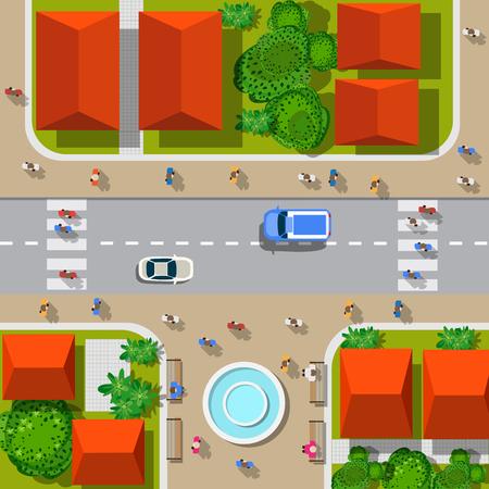 도시의 상위 뷰입니다. 자동차와 주택, 보행자와 도시의 교차로.