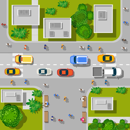 building: Vista superior de la ciudad. Vista superior de cruce urbano con coches y casas.