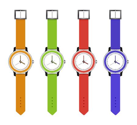 De sport en mode horloges, set uur van verschillende kleuren met een elektronische draaiknop. Vector illustratie.