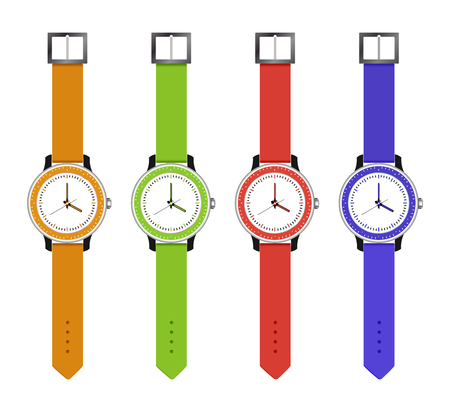wrist: The sports and fashion watches, set hours of different colors with an electronic dial. Vector illustration.