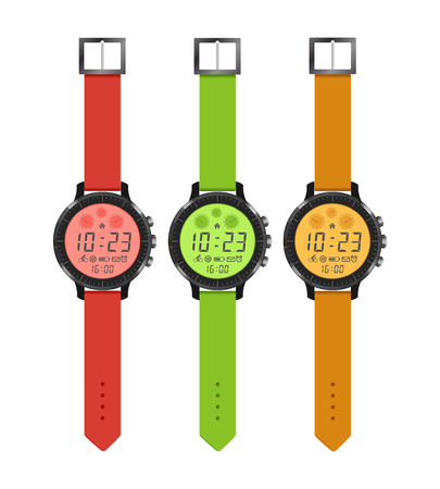 The sports and fashion watches, set hours of different colors with an electronic dial. Vector illustration.