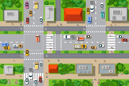 Bovenaanzicht van de stad vanaf de straten, wegen, huizen en auto's