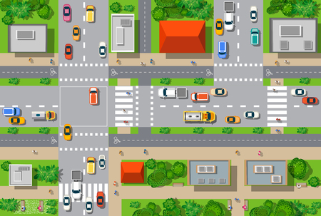 view: Top view of the city from the streets, roads, houses, and cars Illustration