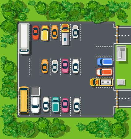 通り、道、家および車からの都市のトップ ビュー