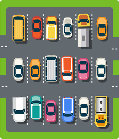 cars on the road: Top view of the city from the streets, roads, houses, and cars Illustration
