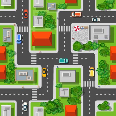 견해: 거리, 도로, 주택, 자동차의 도시 원활한 패턴의 상위 뷰