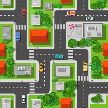 Top view of the city seamless pattern of streets, roads, houses, and cars Ilustração