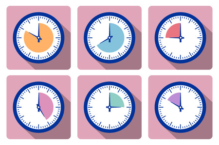 Set clock with the timer in different colors in the style of icons infographics
