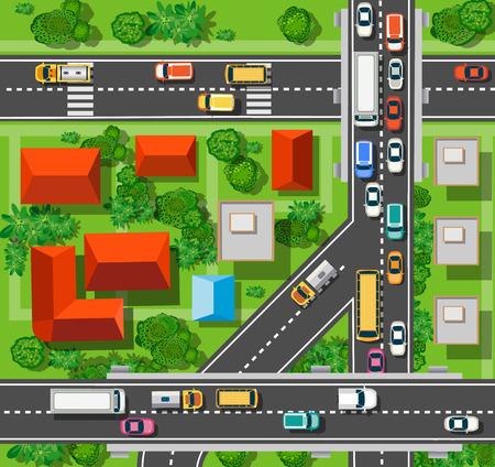 Vue de dessus de la ville dans les rues, les routes, les maisons et les voitures Banque d'images - 52726897