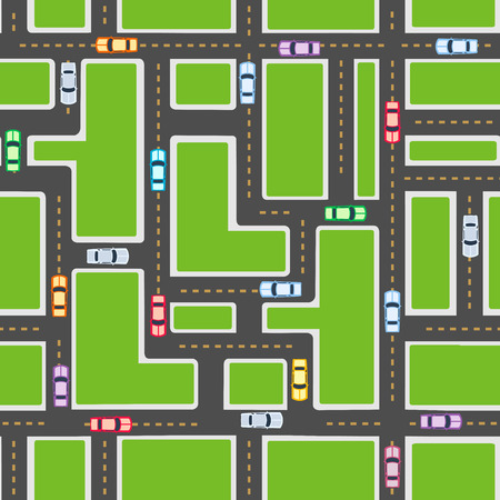 endlos: Top view of the city seamless pattern of streets, roads, houses, and cars Illustration