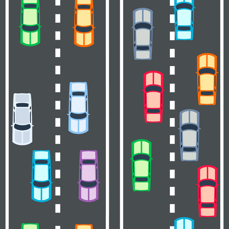 車のシームレスなパターンを持つ高速幹線道路  イラスト・ベクター素材