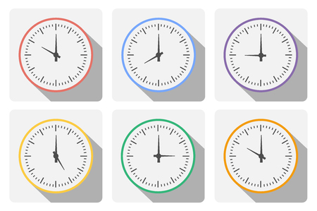 period: Set clock with the timer in different colors in the style of icons infographics