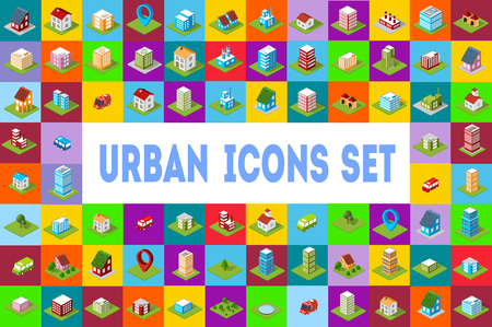 street symbols: A set of colored icons Isometric city.