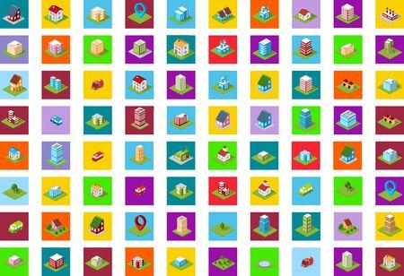 Un set di icone colorate di città isometrica. Archivio Fotografico - 52727209