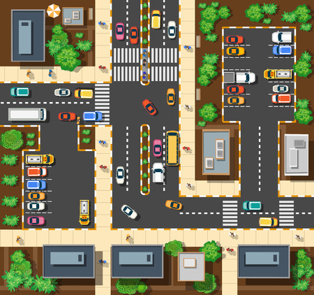 tree top view: Vue de dessus de la ville dans les rues, les routes, les maisons et les voitures