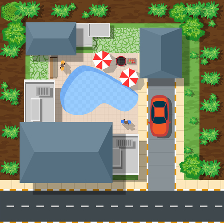 경치: 나무와 주택과 거리의 상위 뷰입니다. 상단 평면 그래픽에서 벡터 마을과 공원보기 일러스트