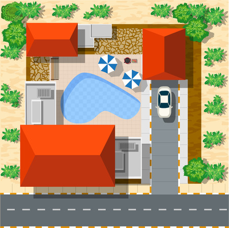 aerial animal: Top view of houses and streets with trees. Vector village and park view from top flat graphic