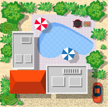 Top view of houses and streets with trees. Vector village and park view from top flat graphic