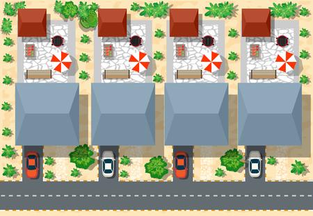 Bovenaanzicht van huizen en straten met bomen. Vector dorp en uitzicht op het park van boven platte grafische