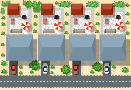 Draufsicht von Häusern und Straßen mit Bäumen. Vector Dorf und Blick auf den Park von oben flach Grafik Standard-Bild - 52727258