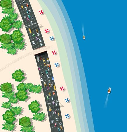 High-speed snelweg met auto's bussen en vrachtwagens. Bovenaanzicht vervoer stedelijke weg.