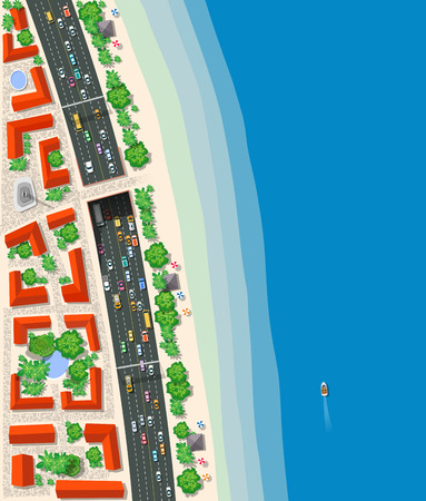 highspeed: High-speed highway with cars buses and trucks. Top view urban road transport.